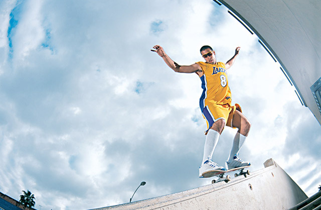 eric-koston-young-lakers-uniform-skateboarding